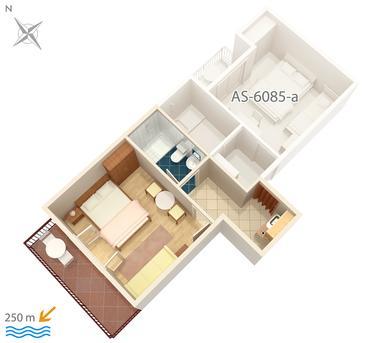 Podgora, Plan kwatery w zakwaterowaniu typu studio-apartment, WIFI.