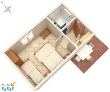 Podgora, Plan kwatery w zakwaterowaniu typu studio-apartment, dopusteni kucni ljubimci i WIFI.