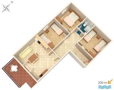 Srima - Vodice, Půdorys v ubytování typu apartment, dopusteni kucni ljubimci i WIFI.