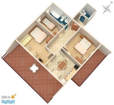 Srima - Vodice, Půdorys v ubytování typu apartment, WiFi.