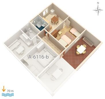 Marina, Alaprajz szállásegység típusa apartment, háziállat engedélyezve és WiFi .
