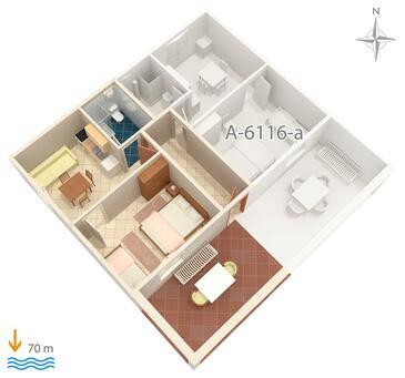 Marina, Grundriss in folgender Unterkunftsart apartment, Haustiere erlaubt und WiFi.