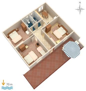 Marina, Plan dans l'hébergement en type apartment, animaux acceptés et WiFi.