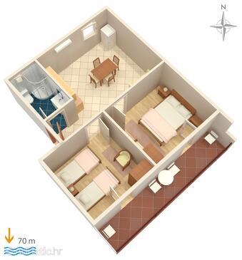 Marina, Půdorys v ubytování typu apartment, domácí mazlíčci povoleni a WiFi.