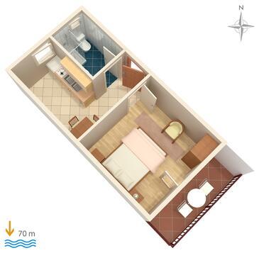Marina, Načrt v nastanitvi vrste apartment, Hišni ljubljenčki dovoljeni in WiFi.