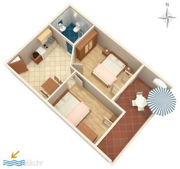 Vrsi - Mulo, Plan in the apartment, WIFI.