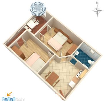 Vrsi - Mulo, Plan in the apartment, WIFI.