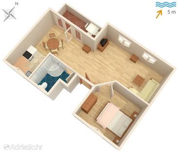 Mali Iž, Půdorys v ubytování typu apartment, domácí mazlíčci povoleni a WiFi.