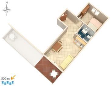 Vodice, Plano in the apartment, WiFi.