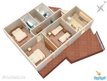 Prožurska Luka, Nacrt u smještaju tipa apartment, kućni ljubimci dozvoljeni i WiFi.