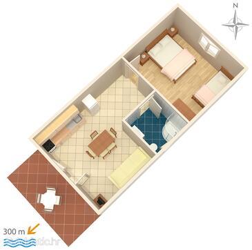 Sukošan, Načrt v nastanitvi vrste apartment, WiFi.