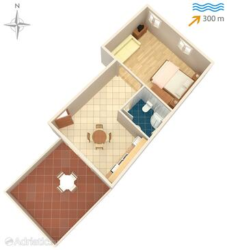 Tkon, Plan in the studio-apartment, WiFi.