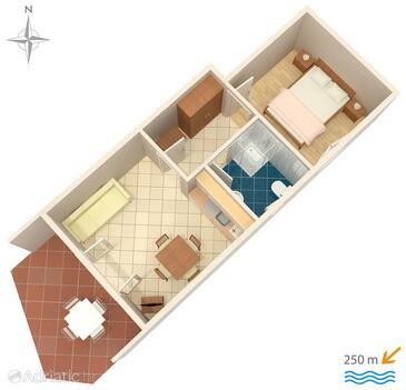 Srima - Vodice, Plan in the apartment, dopusteni kucni ljubimci i WIFI.