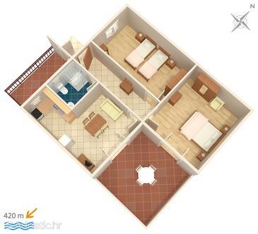 Tribunj, Půdorys v ubytování typu apartment, domácí mazlíčci povoleni a WiFi.