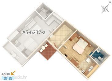 Tribunj, Půdorys v ubytování typu studio-apartment, domácí mazlíčci povoleni a WiFi.