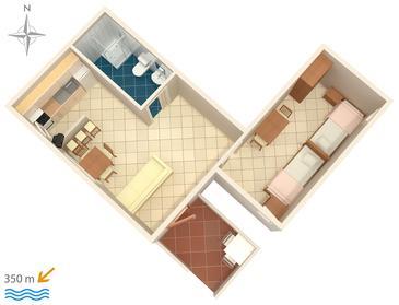 Biograd na Moru, Půdorys v ubytování typu apartment, WiFi.