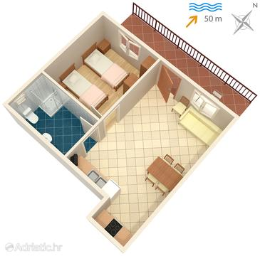 Prigradica, Plan in the apartment, (pet friendly) and WiFi.