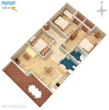 Novalja, Půdorys v ubytování typu apartment.