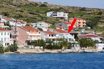 Metajna, Pag, Obiekt 6289 - Apartamenty przy morzu ze żwirową plażą.
