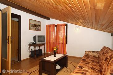 Povljana, Living room in the apartment, dopusteni kucni ljubimci i WIFI.