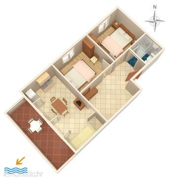 Povljana, Půdorys v ubytování typu apartment, domácí mazlíčci povoleni a WiFi.