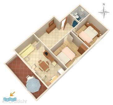 Povljana, Načrt v nastanitvi vrste apartment, Hišni ljubljenčki dovoljeni in WiFi.