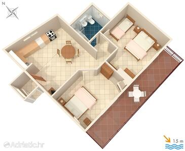 Podobuče, Půdorys v ubytování typu apartment, WIFI.