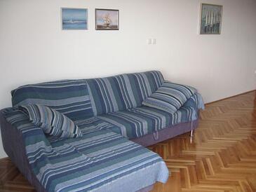 Novalja, Obývacia izba v ubytovacej jednotke apartment, dostupna klima i WIFI.