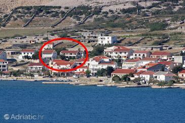 Kustići, Pag, Objekt 6320 - Ubytování v blízkosti moře s oblázkovou pláží.
