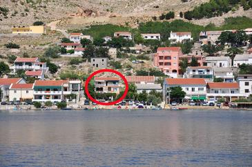 Metajna, Pag, Obiekt 6352 - Apartamenty przy morzu ze żwirową plażą.
