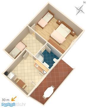 Zubovići, Půdorys v ubytování typu apartment, WiFi.