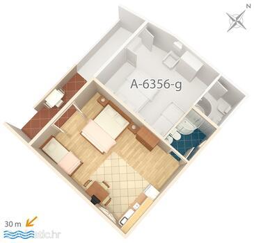 Zubovići, Půdorys v ubytování typu studio-apartment, WiFi.