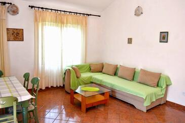 Pag, Obývací pokoj v ubytování typu apartment, s klimatizací, domácí mazlíčci povoleni a WiFi.