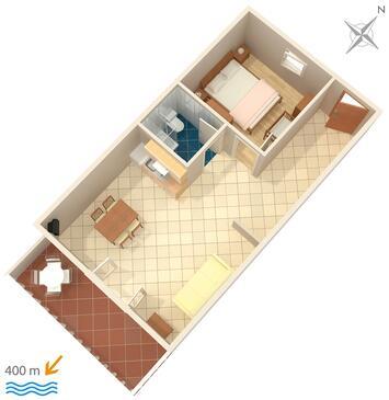 Mokalo, Půdorys v ubytování typu apartment, dopusteni kucni ljubimci i WIFI.