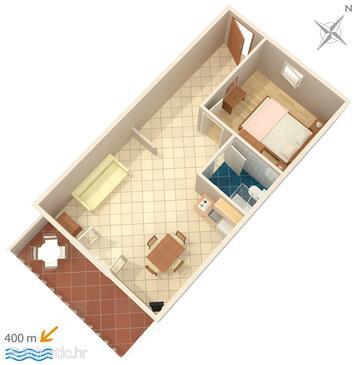 Mokalo, Nacrt u smještaju tipa apartment, kućni ljubimci dozvoljeni i WiFi.