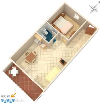 Mokalo, plattegrond in the apartment, (pet friendly) en WiFi.