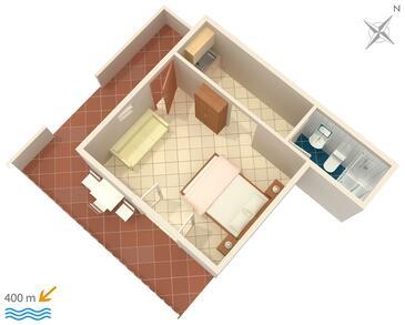 Mokalo, Půdorys v ubytování typu studio-apartment, dopusteni kucni ljubimci i WIFI.