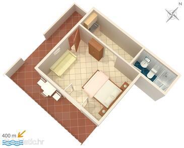 Mokalo, Půdorys v ubytování typu studio-apartment, domácí mazlíčci povoleni a WiFi.