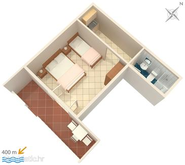Mokalo, Plan in the studio-apartment, (pet friendly) and WiFi.