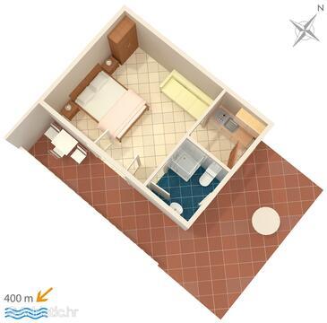 Mokalo, План в размещении типа studio-apartment, Домашние животные допускаются и WiFi.