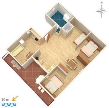 Stara Novalja, Plan kwatery w zakwaterowaniu typu studio-apartment, WIFI.