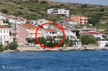 Metajna, Pag, Property 6393 - Rooms near sea with pebble beach.