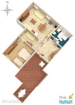 Metajna, Půdorys v ubytování typu apartment, domácí mazlíčci povoleni.