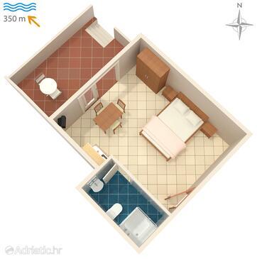 Novalja, Plan in the studio-apartment, dopusteni kucni ljubimci.