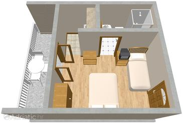 Orebić, Plan in the studio-apartment, WIFI.