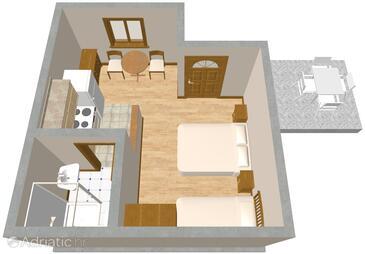Orebić, Půdorys v ubytování typu studio-apartment, WiFi.