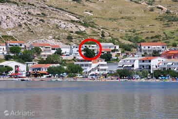 Metajna, Pag, Objekt 6423 - Ubytování s písčitou pláží.