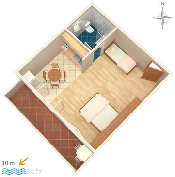 Metajna, Plan in the studio-apartment, dopusteni kucni ljubimci i WIFI.