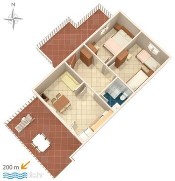 Metajna, Půdorys v ubytování typu apartment, WiFi.