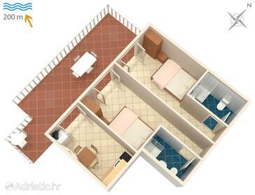 Metajna, План в размещении типа apartment, WiFi.